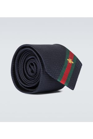 Gucci Mænd Slips - Silk tie with bee Web