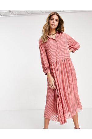 ASOS Plisseret skjorte-midikjole med knapper og striber i terose-Lyserød