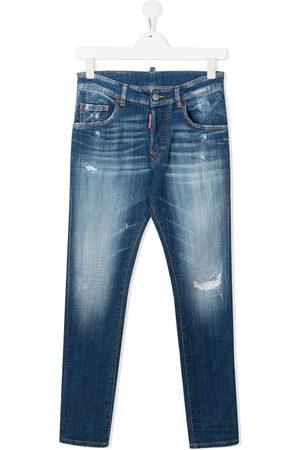Dsquared2 TEEN ripped-detail straight-leg jeans