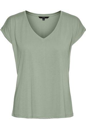 Vero Moda Kvinder Toppe - V-neck Short Sleeved Top Kvinder Blå