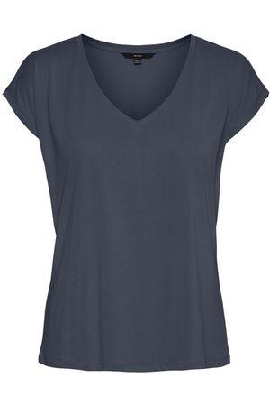Vero Moda V-neck Short Sleeved Top Kvinder Blå