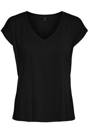 Vero Moda V-neck Short Sleeved Top Kvinder Sort