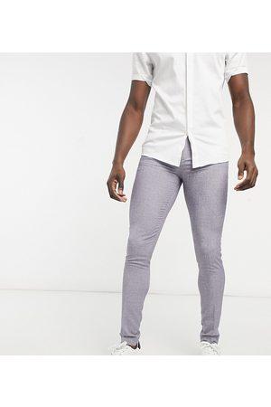 ASOS Tall - Super skinny habitbukser til bryllup i mørkegrå krydsvævning