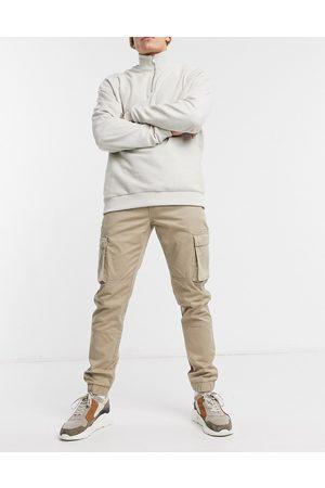 Only & Sons Cargobukser med tætsiddende buksekanter i slim fit i beige-Stenfarvet