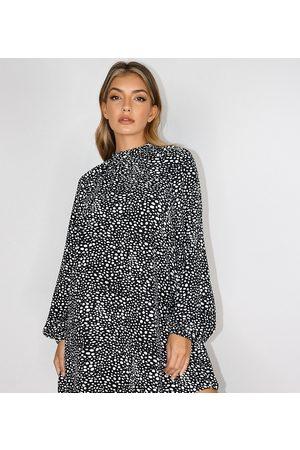 Missguided Højhalset shift-kjole med lange ærmer i dalmatinerprint