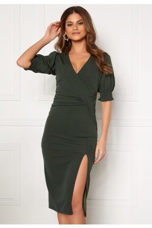 BUBBLEROOM Kvinder Casual kjoler - Sahara front twist dress Dark green 40