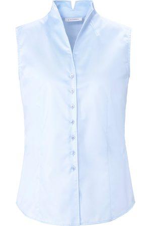 ETERNA Ærmeløs skjorteblus i let taljeret snit Fra blå