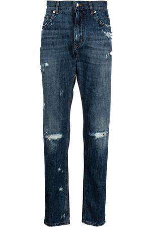 Dolce & Gabbana Mænd Slim - Jeans med smal pasform og slitage-detalje