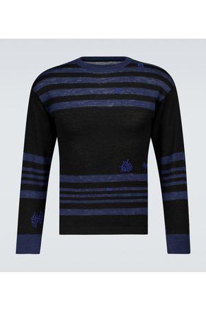Maison Margiela Mænd Strik - Striped wool and linen sweater