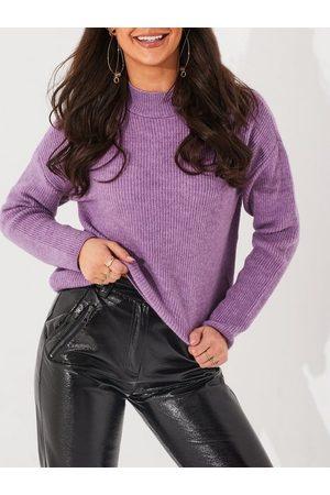 Vero Moda Kvinder Strik - Vmolina Ls Highneck Blouse Noos Strikkede trøjer African Violet Melange
