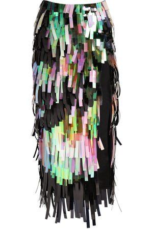 The Attico Sequined Pencil Midi Skirt W/ Side Slit