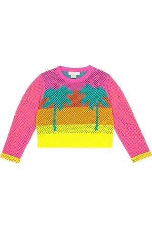 Stella McCartney Kids Intarsia cotton mesh sweatshirt