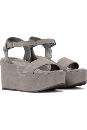 Brunello Cucinelli Kvinder Kilehæle - Suede platform wedge sandals
