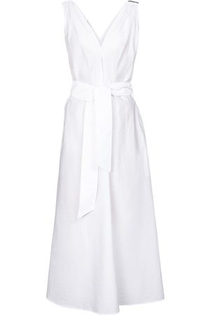 Brunello Cucinelli Embellished cotton-blend midi dress