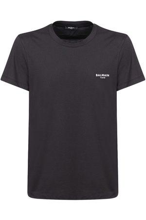 Balmain Flocked Logo Organic Cotton T-shirt