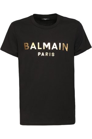 Balmain Logo Foil Cotton Jersey T-shirt