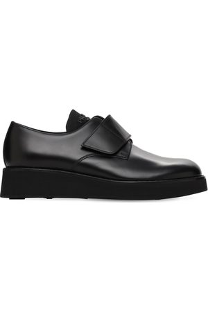 Prada Brushed Leather Derby Shoes W/ Strap