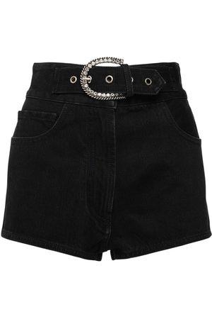 Alessandra Rich High Waist Cotton Denim Shorts