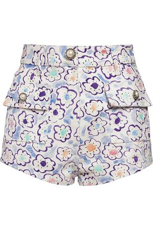 Alessandra Rich Floral Print Cotton Gabardine Shorts