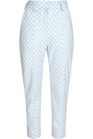 Balmain Cotton Blend Gingham Carrot Pants