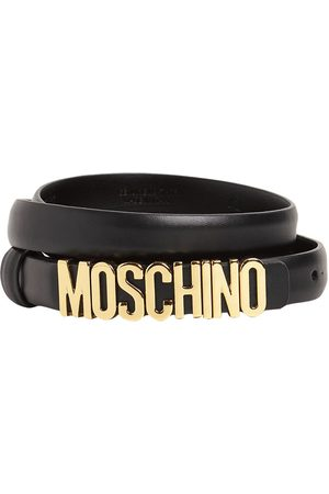 Moschino 2cm Gold Logo Leather Belt