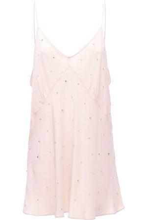 Miu Miu Silk Crepe Mini Dress W/ Crystals
