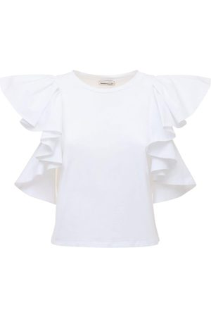 Alexander McQueen Cotton Jersey T-shirt W/ruffled Sleeves