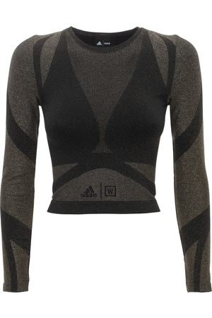 ADIDAS X WOLFORD Studio Motion Cropped Long Sleeve Top