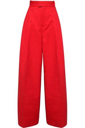 Bottega Veneta High Waist Double Cotton Wide Leg Pants
