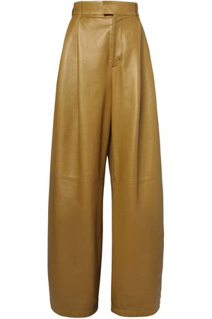 Bottega Veneta High Waist Leather Wide Leg Pants