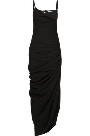 Jacquemus Draped Viscose Blend Long Dress W/slit