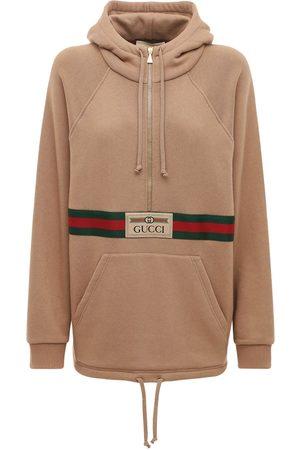 Gucci Logo Cotton Jersey Hoodie W/ Front Zip