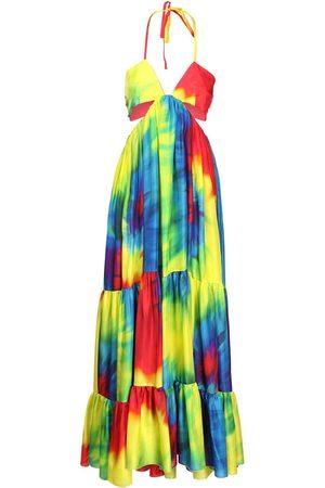 ALEXANDRE VAUTHIER Silk Charmeuse Long Dress W/cutout