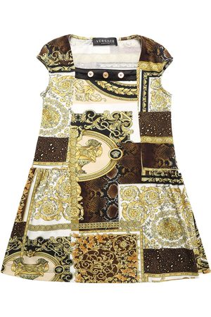 VERSACE Baroque Print Cotton Jersey Dress