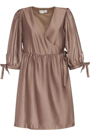 Designers Remix Enola Satin Wrapped Mini Dress