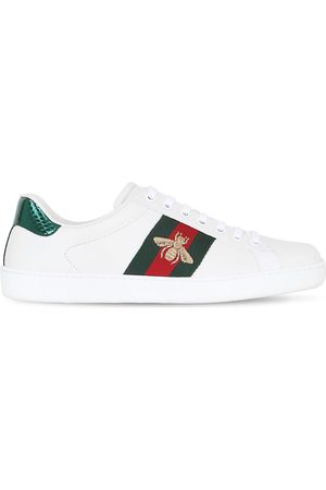 Gucci New Ace Bee Web Leather Sneakers