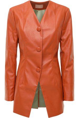 Liya Faux Leather Blazer