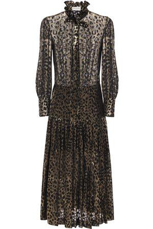 Saint Laurent Leopard Devoré Georgette Shirt Dress