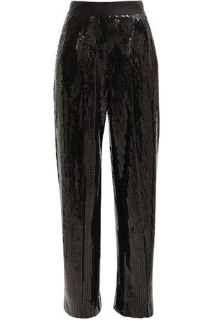 Alessandra Rich High Waist Sequin Wide Leg Pants