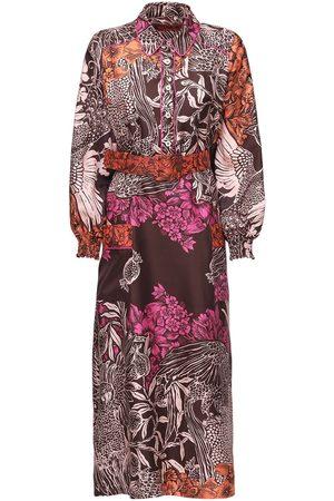 F.R.S For Restless Sleepers Printed Silk Twill Midi Dress W/ Belt
