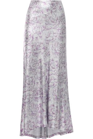 Paco rabanne Floral Print Viscose Blend Long Skirt