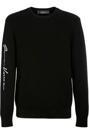 VERSACE Logo Embroidered Wool Knit Sweater