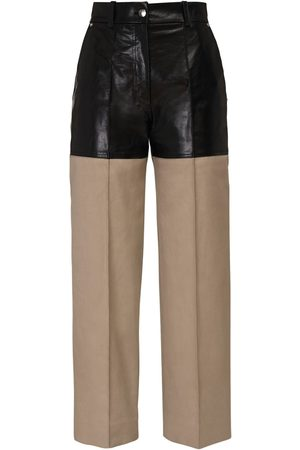 Peter Do Leather & Canvas Cropped Pants