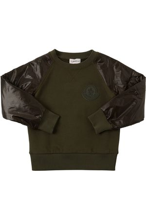 Moncler Cotton Sweatshirt W/ Ripstop Sleeves