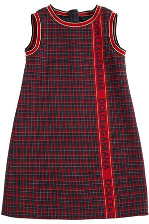 Dolce & Gabbana Check Cotton Knit Dress W/ Logo Band