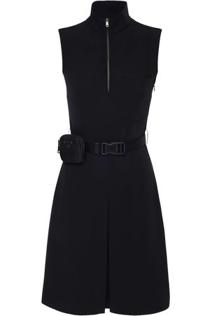 Prada Techno Knee Lenght Belted Dress W/ Pouch