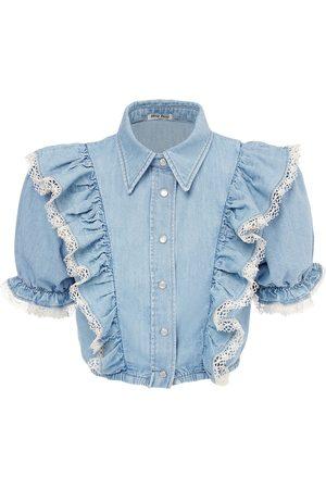 Miu Miu Ruffled Cotton Crop Shirt W/ Lace