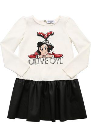 MONNALISA Olive Print Jersey & Faux Leather Dress