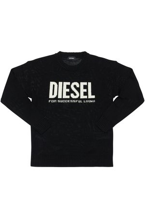 Diesel Logo Jacquard Knit Wool Blend Sweater