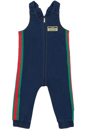 Gucci Cotton Denim Effect Romper W/ Side Bands
